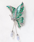 64315 - Plique A Jour Green Butterfly Brooch