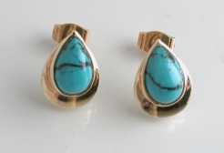 65146 - Turquoise Stud Earrings in 9ct Yellow Gold