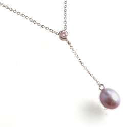 66926 - Natural Coloured Pink Diamond & Cultured Pearl Pendant