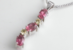 67108 - Pink Tourmaline & Yellow Sapphire Pendant including chain in 9ct White Gold