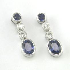 65285 - 18ct White Gold Blue Sapphire & Diamond Drop Earrings