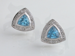 65136 - 18ct White Gold Blue Topaz & Diamond Earrings in 18ct White Gold