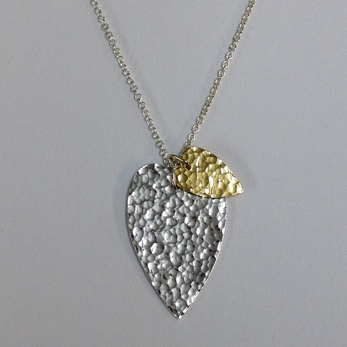 5ec6228d36 68518 - Handmade Sterling silver hammered Heart pendant with 18ct Vermeil  accent heart
